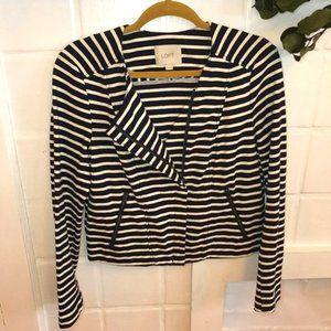 LOFT 100% Cotton Striped Zipper Cardigan Jacket